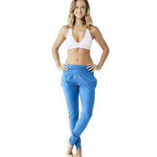 pantaloni lunghi yoga azzurri