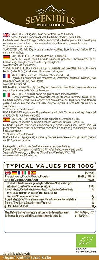 burro cacao biologico 1kg sevenhill etichetta